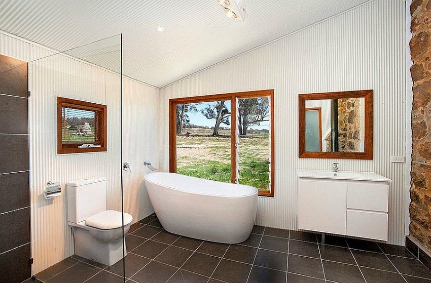 corrugated iron bathroom