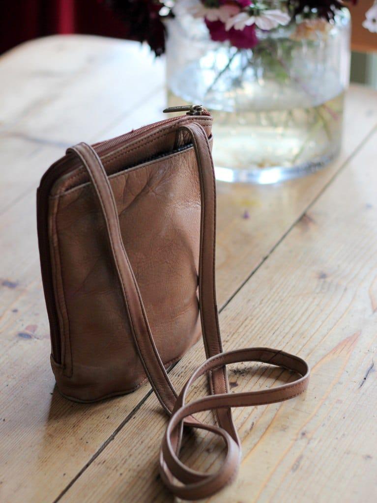 tan vintage handbag