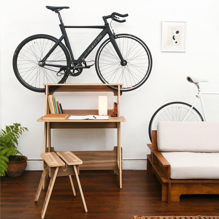 desk with bike storage