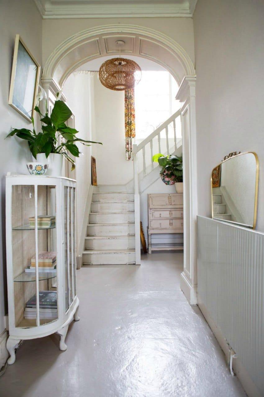 beautiful white hallway house tour