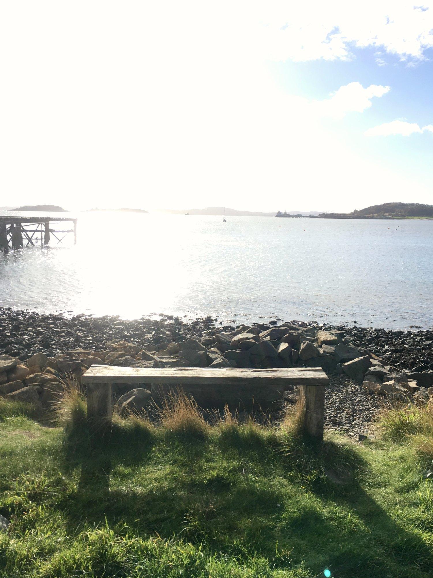 bench beside beach