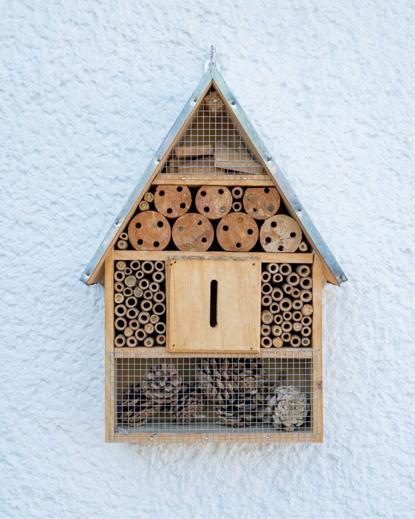 bee hotel to attract bees to your garden