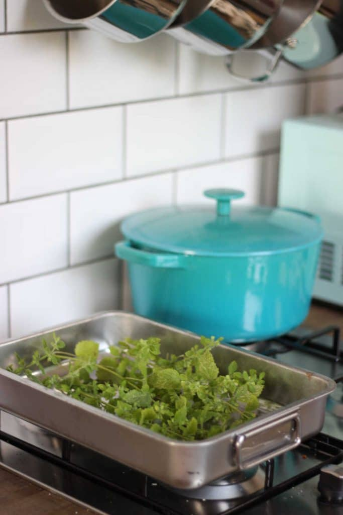 lemon balm on an oven dish ready to be dried in the oven
