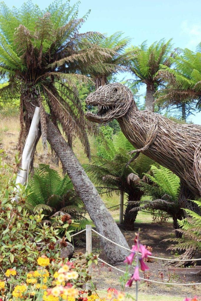 Wicker dinosaur at Logan Botanic Garden on the Rhins of Galloway