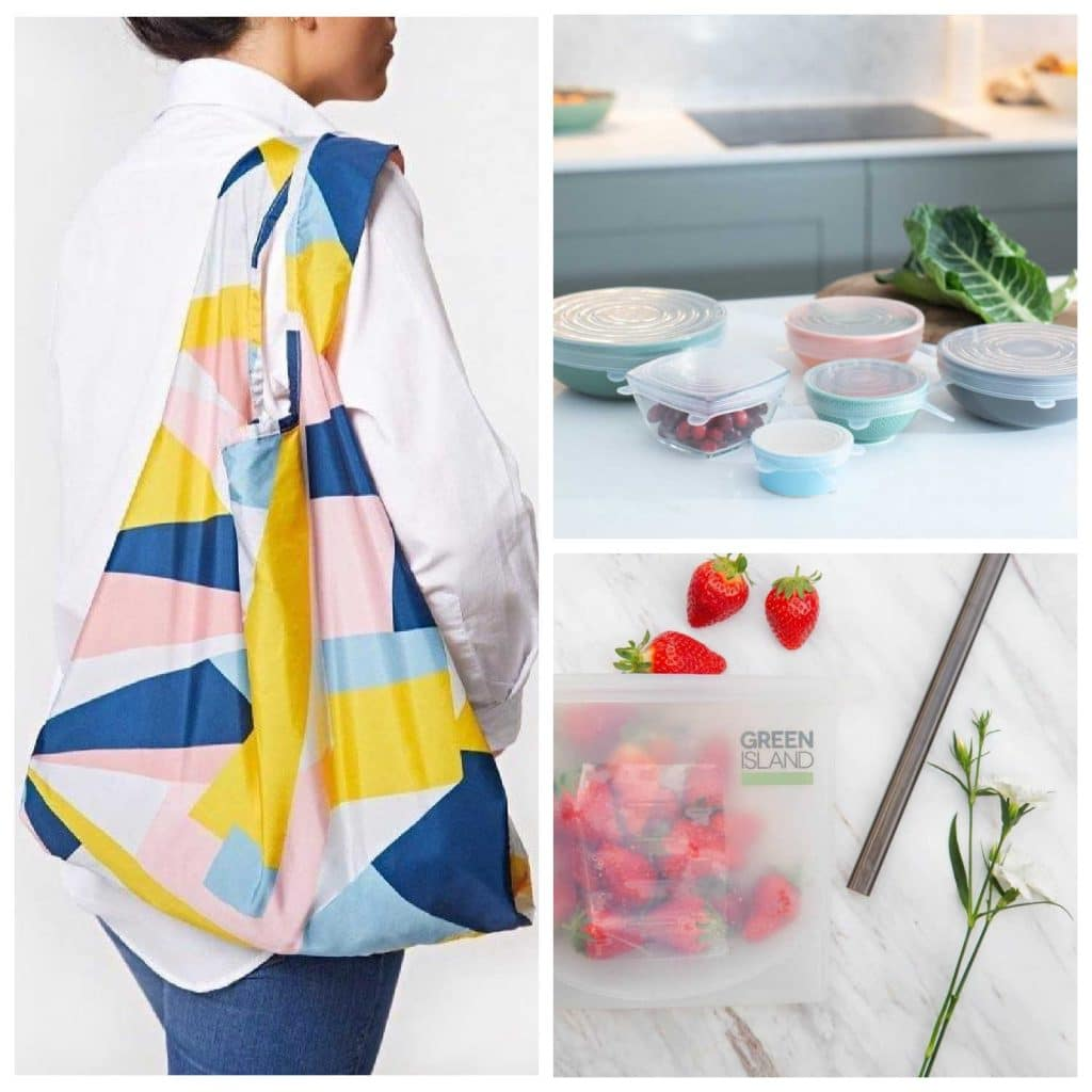 Sustainable products for a plastic-free life on the go, including reusable shopping bags and plastic-free food saving products such as silicone bags.