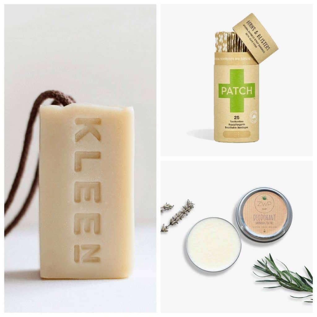 A selection of plastic-free products available from The Ideal Sunday, including bar soap, deodorant in a tin, and natural bamboo plasters.