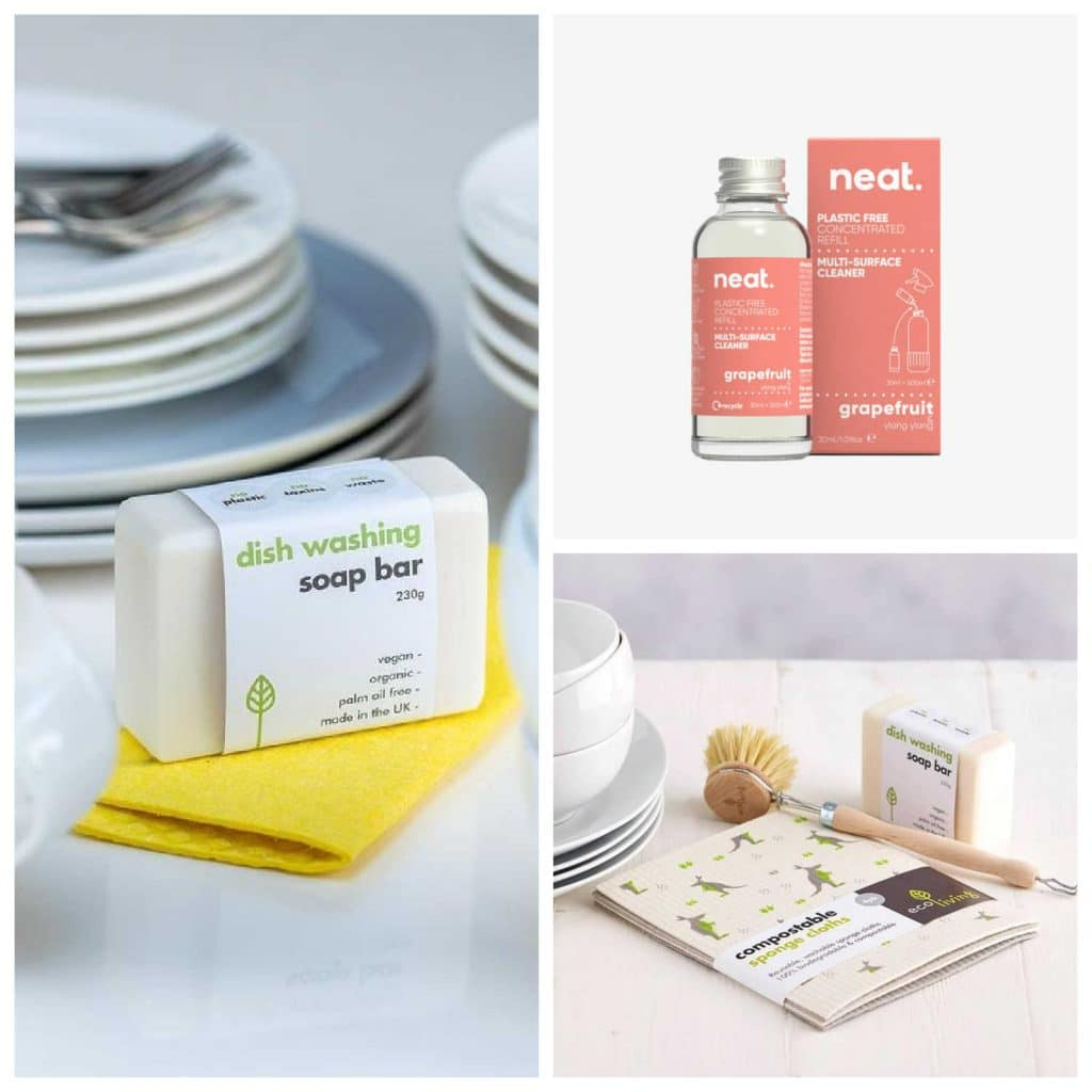 A selection of zero-waste household products available from The Ideal Sunday, including solid dishwashing soap, compostable kitchen cloths, and concentrated cleaning products.