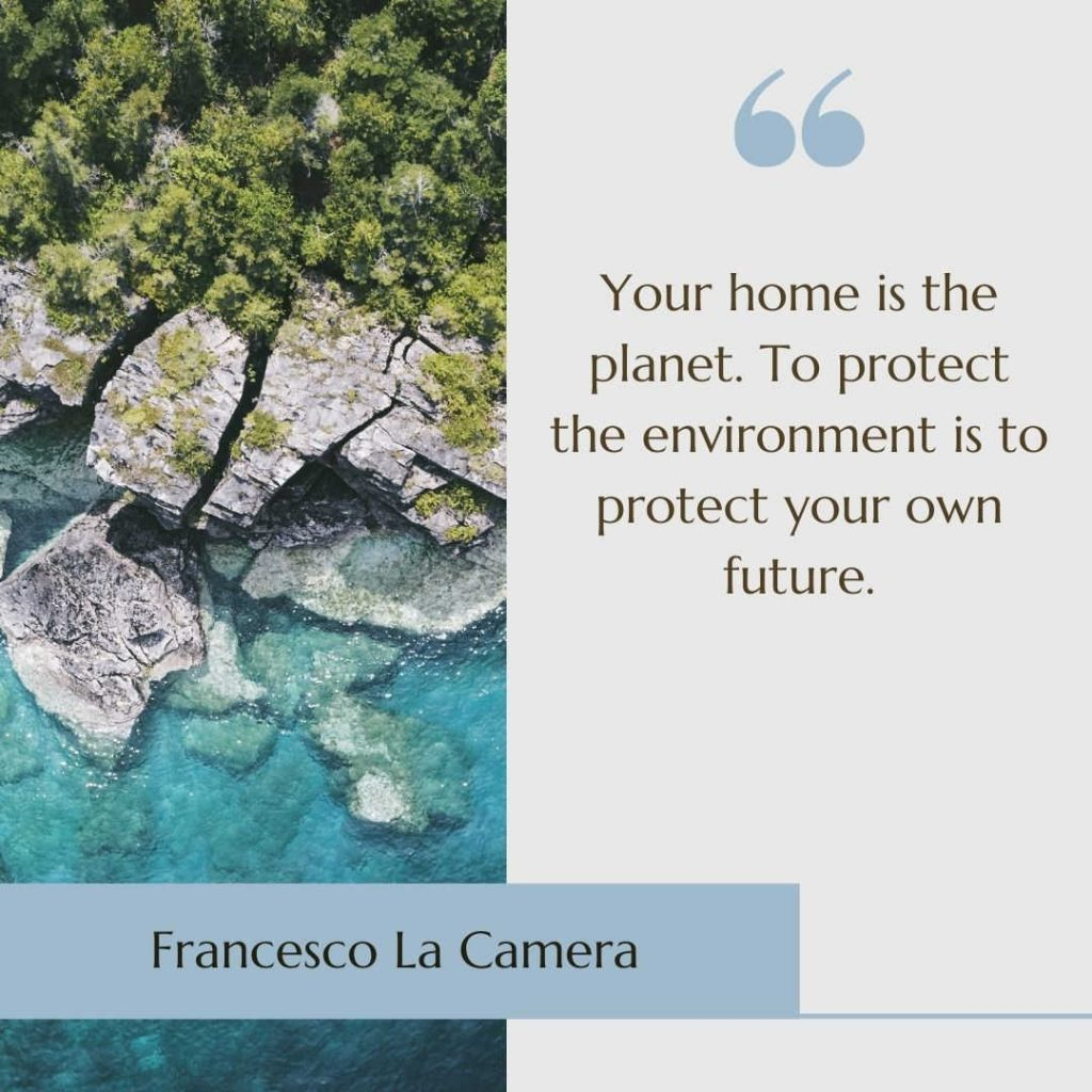 """Image of rocks and the sea with the climate change quote """"Your home is the planet. To protect the environment is to protect your own future"""" by Francesco La Camera"""