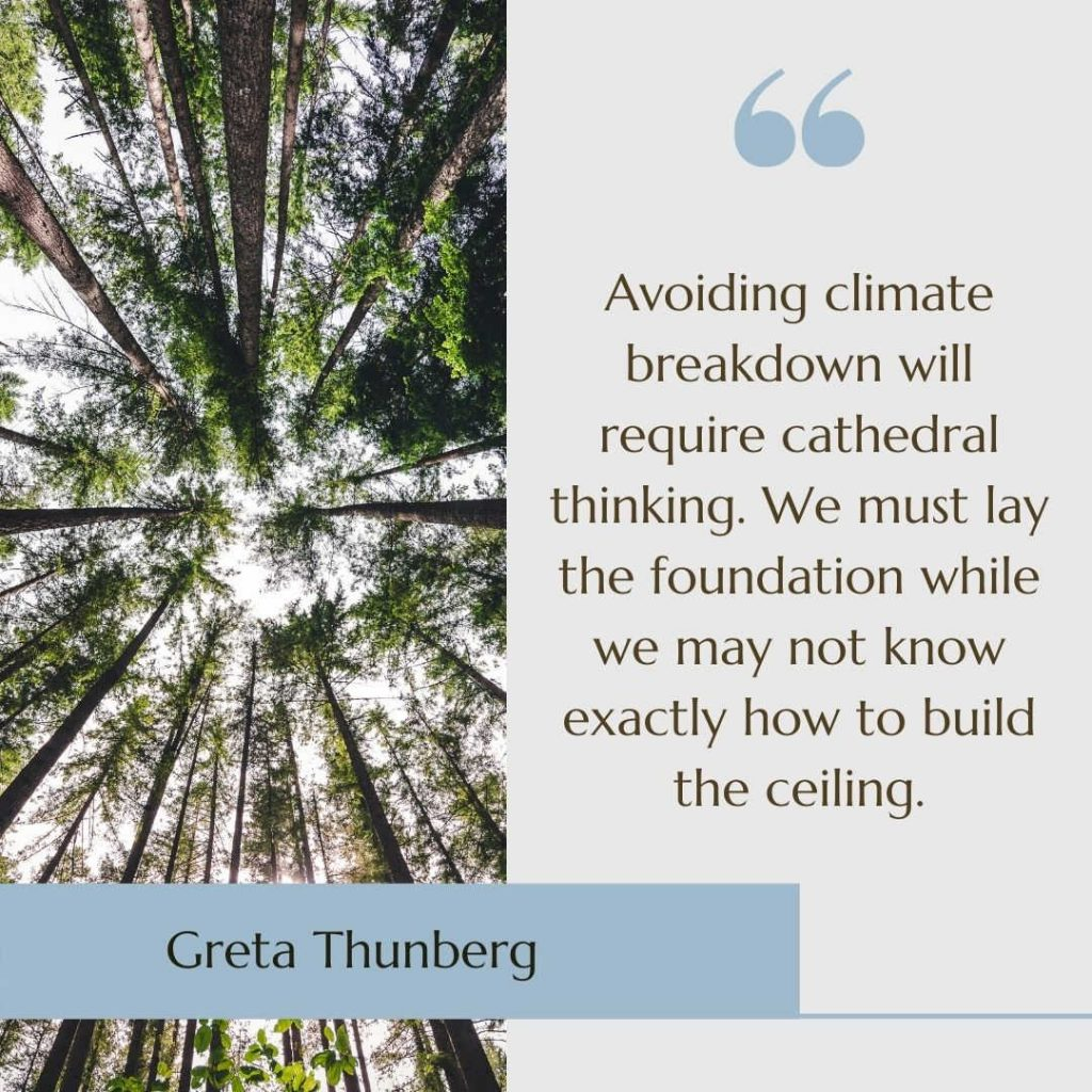 """Image of trees with the quote """"Avoiding climate breakdown will require cathedral thinking. We must lay the foundation while we may not know exactly how to build the ceiling"""" by Greta Thunberg."""