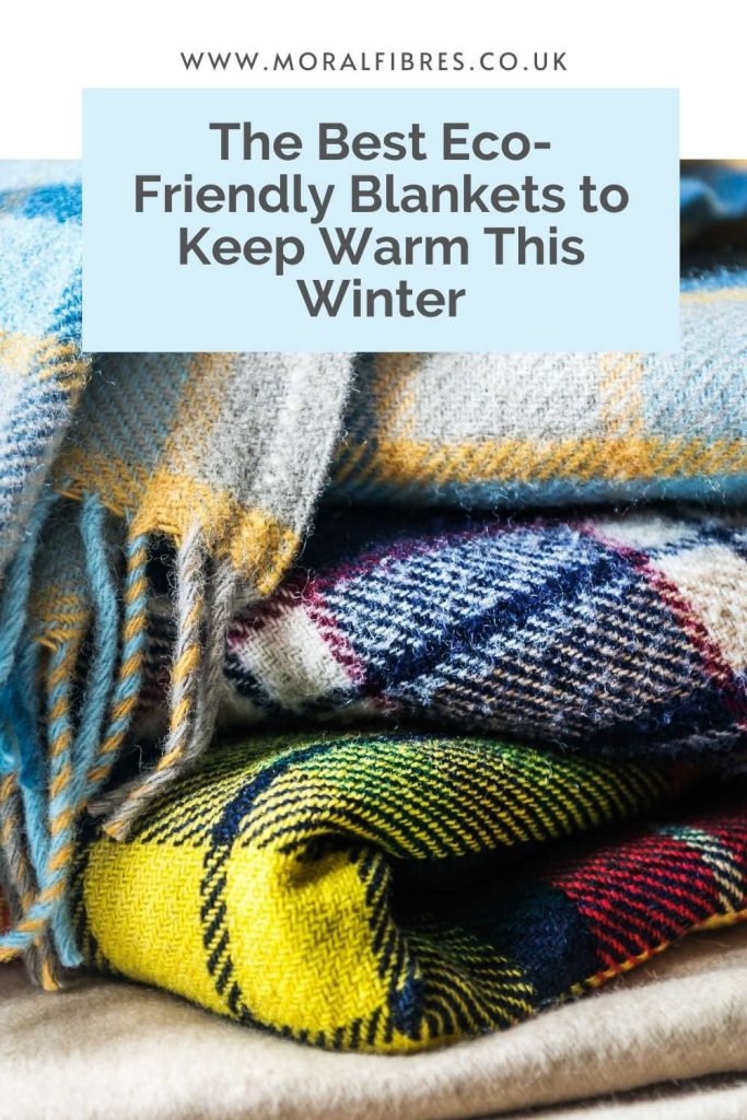 Image of some folded tartan blankets with a blue text box that says the best eco-friendly blankets to keep warm with this winter