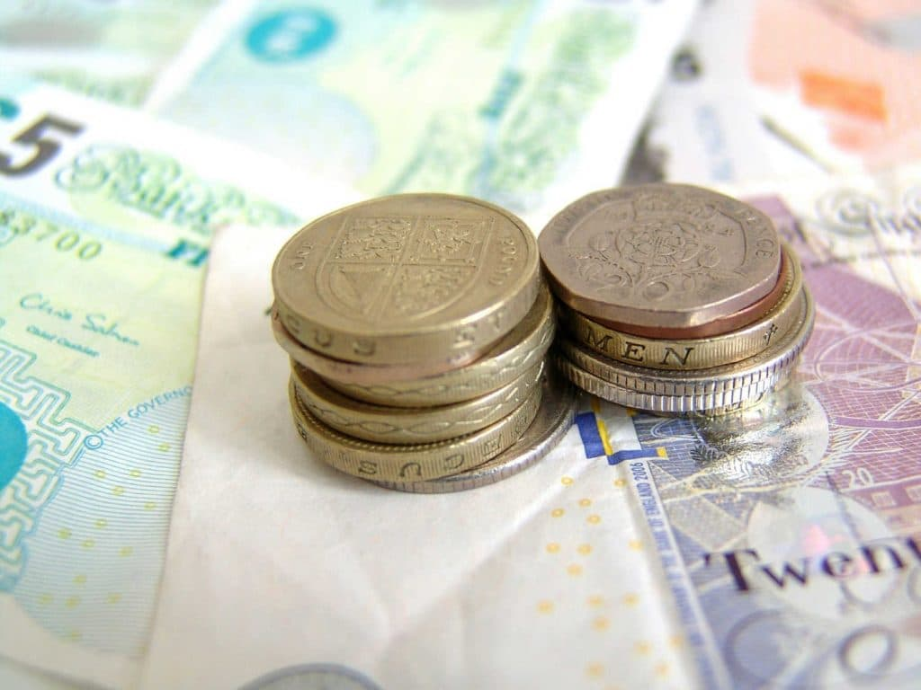 Image of british money - pound notes and coins