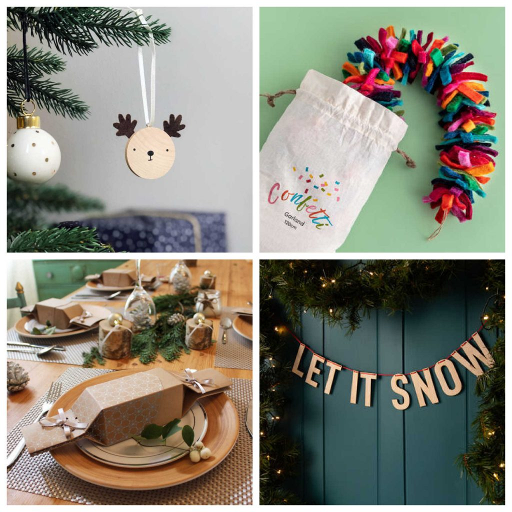 Reusable Christmas decorations from Not On The High Street, including reusable Christmas crackers