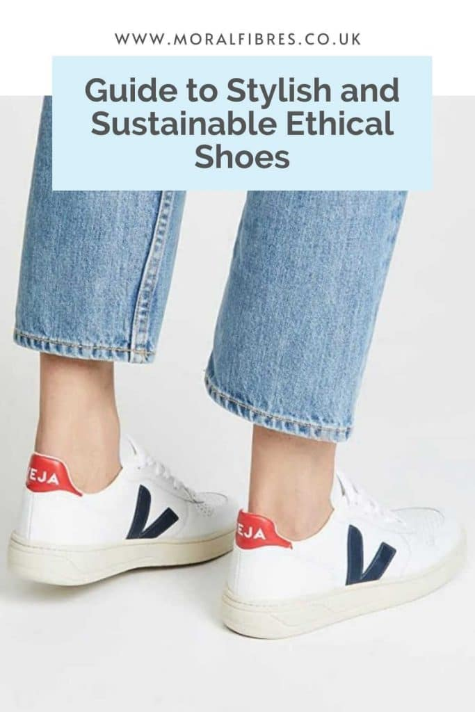 Image of a persons legs in jeans wearing trainers, with a blue text box that says guide to stylish and sustainable ethical shoes