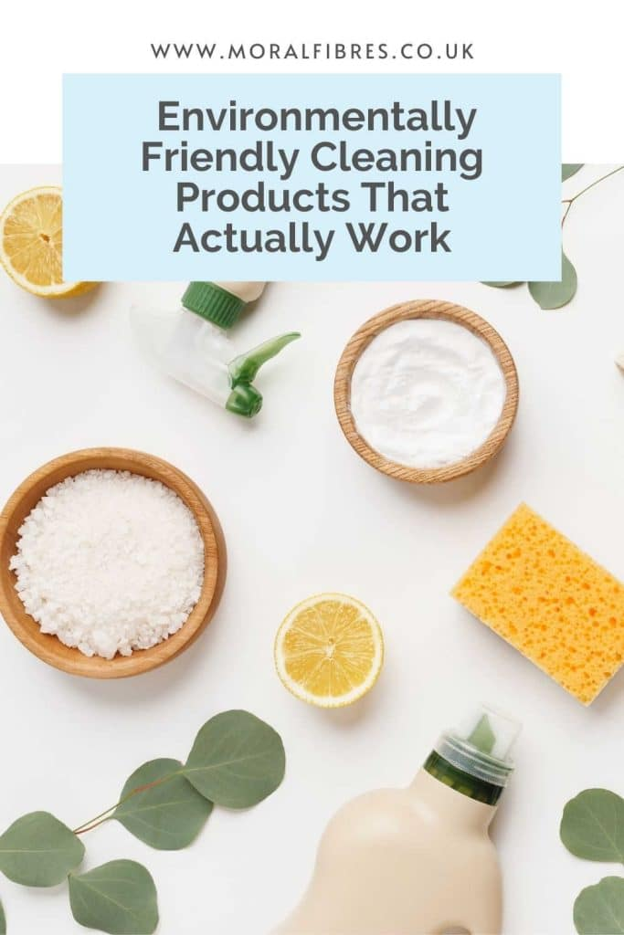 Flat lay of cleaning products, eucalyptus leaves and lemons with a blue text box that says the best environmentally and eco friendly cleaning products that actually work