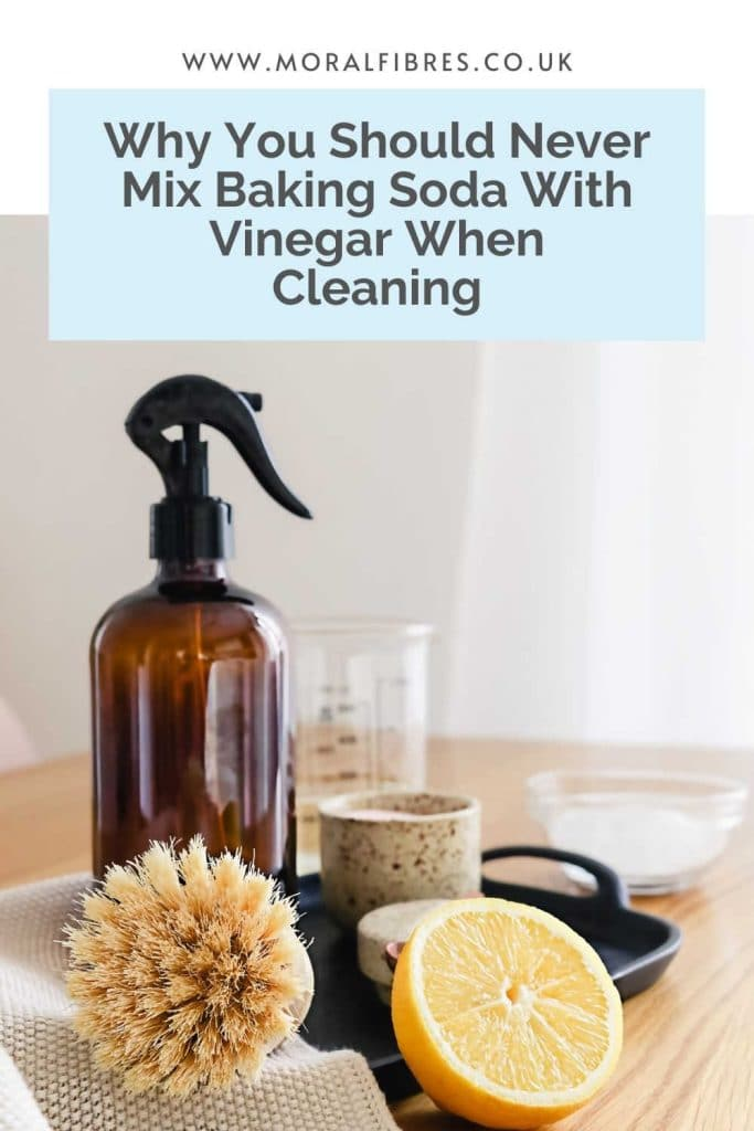 Image of a natural cleaning products with a blue text box that says why you should never mix baking soda (bicarbonate of soda) with vinegar when cleaning