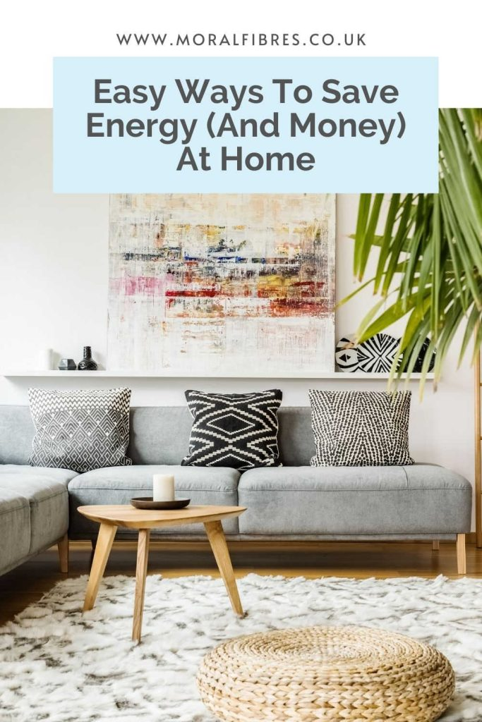 Image of a living room with a blue text box that says easy ways to save energy and money at home.